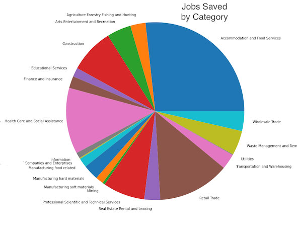 Jobs Saved By Category with Small Business Loans Data Analysis by Sheri Rosalia | Data Engineer | Data Analyst | Data Scientist