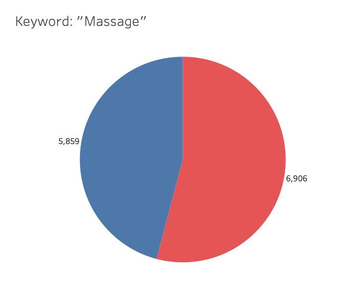 Massage Keyword Pie Chart | Project by Sheri Rosalia | Data Engineer | Data Analyst | Data Scientist