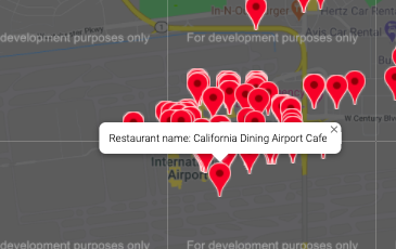 Map of  California Dining Airport Café| Project by Sheri Rosalia | Data Engineer | Data Analyst | Data Scientist