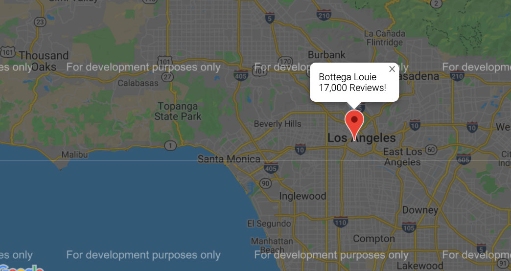 Map of Restaurant with Most Reviews Bottega Louie | Project by Sheri Rosalia | Data Engineer | Data Analyst | Data Scientist